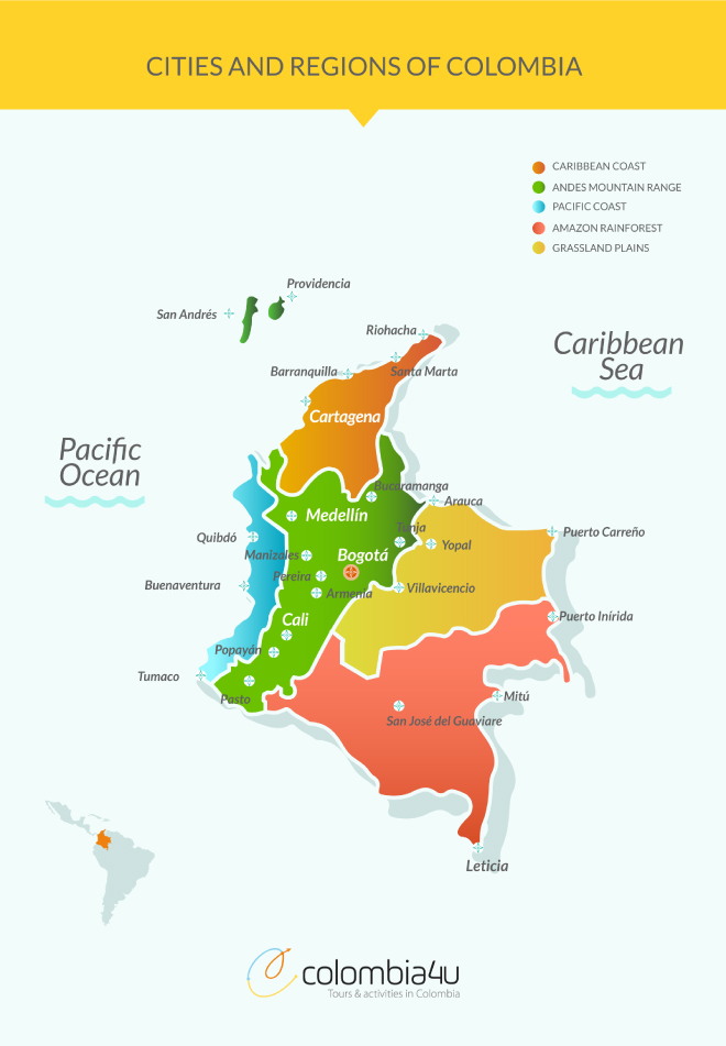Map Cities And Regions Of Colombia - Colombia map